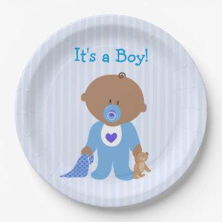 Es ist ein Jungen-blauer Babyparty-Pappteller Pappteller