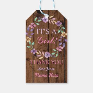 Es ist ein Mädchen dankt Ihnen Babyparty-rosa Geschenkanhänger