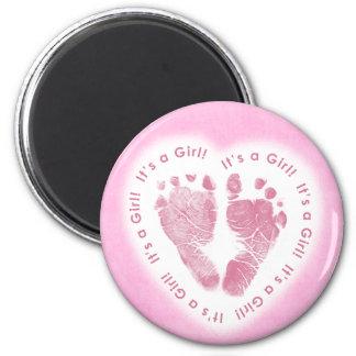 Es ist ein Mädchen-Geburts-Mitteilungs-Magnet Runder Magnet 5,7 Cm