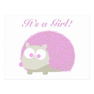 Es ist ein Mädchen! Igel Postkarte