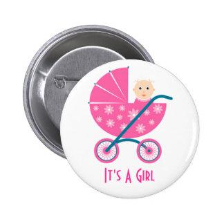 Es ist ein Mädchen: Neugeborener Baby-Save the Dat Runder Button 5,1 Cm