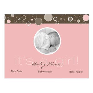 Es ist ein Mädchen! - Rosa Postkarte