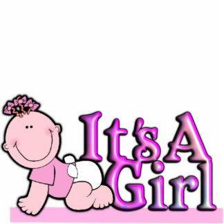 Es ist ein Mädchen-Rosa-Text mit Baby-Kuchen u. Ta Freistehende Fotoskulptur