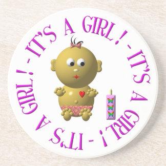 Es ist ein Mädchen! Sandstein Untersetzer