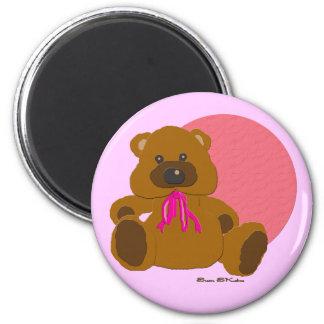 """""""Es ist ein Mädchen-"""" Teddybär-Sammlung Runder Magnet 5,7 Cm"""