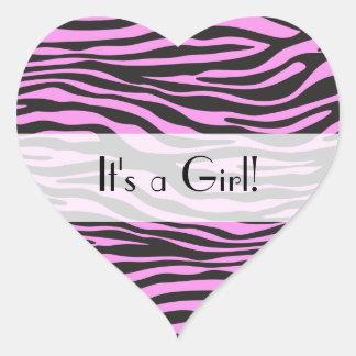 Es ist ein Mädchen - Tierdruck, Zebra-Streifen - Herz-Aufkleber
