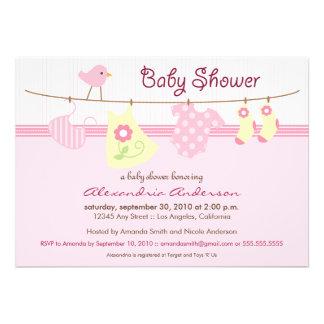 Es ist ein Mädchen! Wäscheleine-Babyparty-Einladun