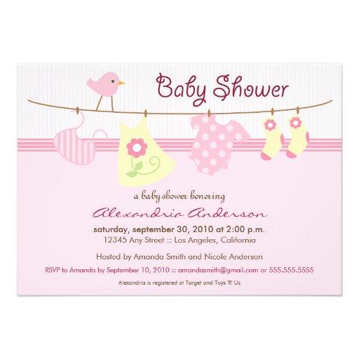 Es ist ein Mädchen! Wäscheleine-Babyparty-Einladun Ankündigungskarten