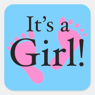 Es ist ein neugeborenes Mädchen -, Baby, Babyparty Quadratsticker