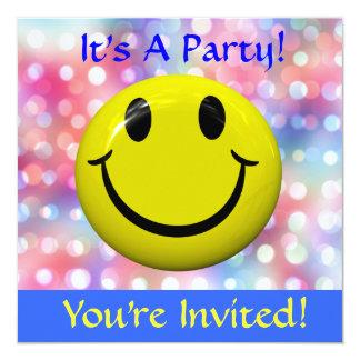 Es ist ein Party! Glückliche Gesichts-Einladung Quadratische 13,3 Cm Einladungskarte