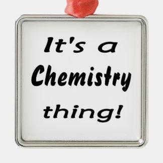 Es ist eine Chemiesache! Quadratisches Silberfarbenes Ornament