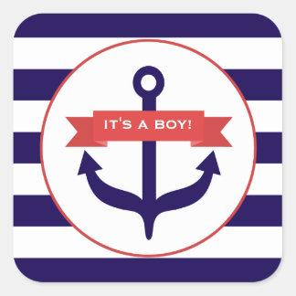 Es ist eine Jungen-Anker-Fahne u. Stripes Baby-Auf Quadrataufkleber