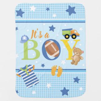 Es ist eine Jungen-Baby-Decke Puckdecke