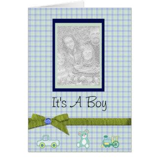 Es ist eine Jungen-personalisierte Baby-Mitteilung Karte