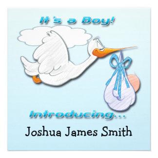 Es ist eine Jungen-Storch-Geburts-Mitteilung Individuelle Ankündigungskarte