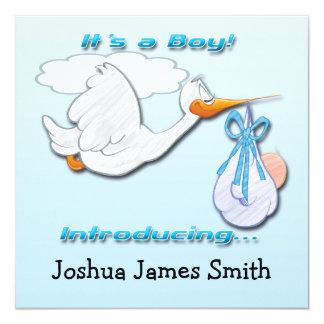 Es ist eine Jungen-Storch-Geburts-Mitteilung Quadratische 13,3 Cm Einladungskarte