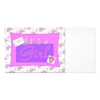 Es ist eine Mädchen Babyparty-Einladungen Photo Karten