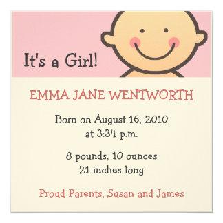 Es ist eine Mädchen-Geburts-Mitteilungen Einladung