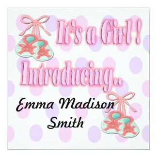 Es ist eine Mädchen-Hintern-Geburts-Mitteilung Quadratische 13,3 Cm Einladungskarte