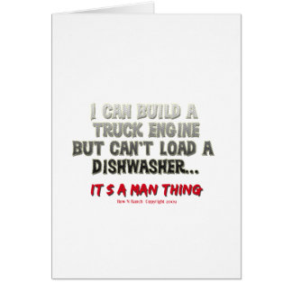 Es ist eine Mannsache: Motor gegen Spülmaschine Grußkarte