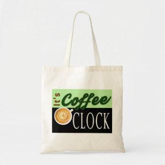 es ist Kaffeeuhrtextuhrschalen-Hipstermitteilung Budget Stoffbeutel