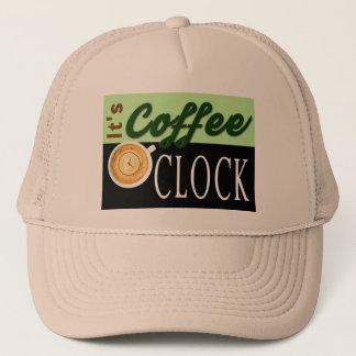 es ist Kaffeeuhrtextuhrschalen-Hipstermitteilung Truckerkappe