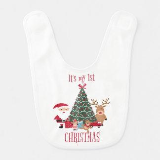 Es ist mein erster Weihnachtsbaum Sankt und Ren Babylätzchen