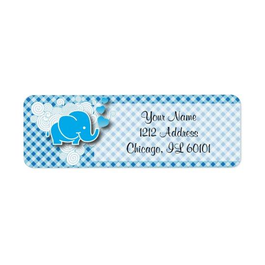 Es ist mit Baby-Elefanten ein Jungen-, Blaues u. Rücksende Aufkleber