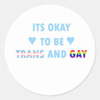 Es ist okay, Transport und Homosexuelles (v2) zu Runder Aufkleber