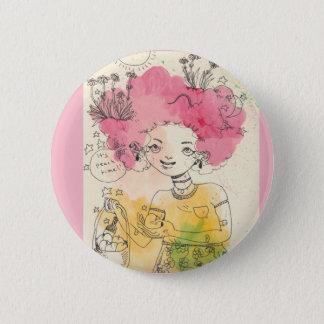 Es ist Pfirsich-Zeit! Button im Rosa