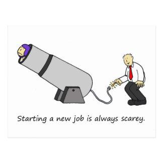 Es ist scarey, einen neuen Job, Zirkuskanone Postkarte