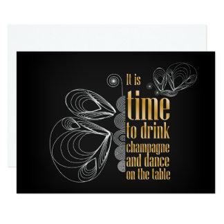 """""""Es ist Zeit, Champagner und Tanz zu trinken 12,7 X 17,8 Cm Einladungskarte"""