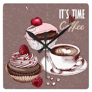 Es ist Zeit für Kaffee Quadratische Wanduhr