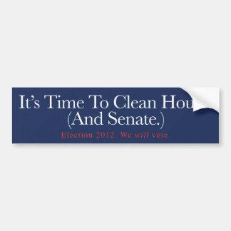 Es ist Zeit, Haus zu säubern. (Und Senat.) Autoaufkleber