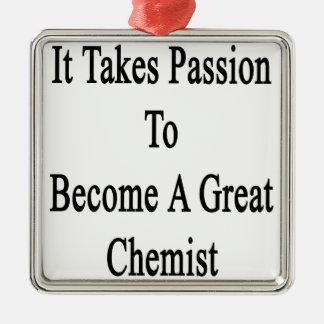 Es nimmt Leidenschaft, um einem großen Chemiker zu Quadratisches Silberfarbenes Ornament