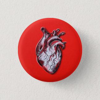 Es plattiert Herz Runder Button 3,2 Cm