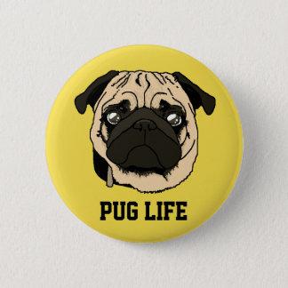 Es plattiert Pug Runder Button 5,7 Cm