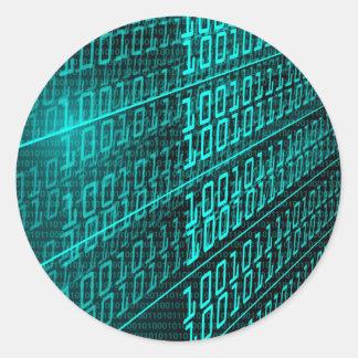 ES Programmierungsprogrammierer des binären Codes Runder Aufkleber