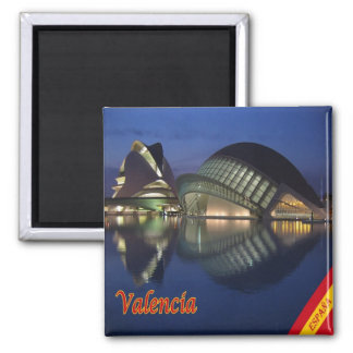 ES - Spanien- - Valencia-Panorama Quadratischer Magnet
