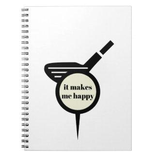 Es stellt mich Glücklich-Golf Tasse her Notizblock