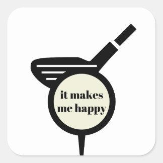Es stellt mich Glücklich-Golf Tasse her Quadratischer Aufkleber