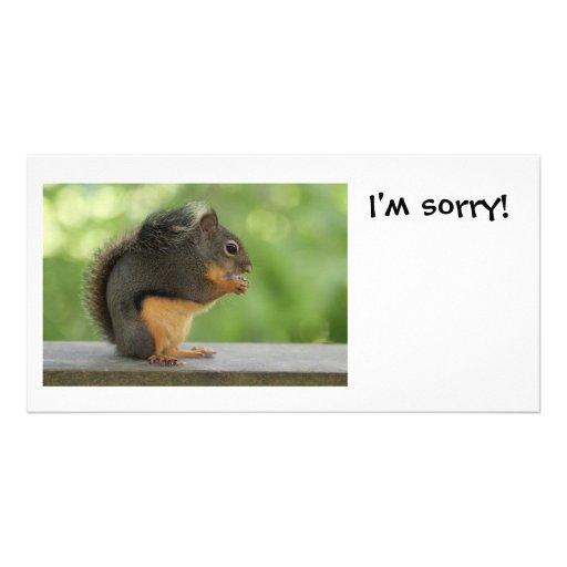 Es tut mir leid Entschuldigungs-Eichhörnchen Photo Karten Vorlage