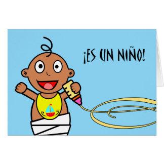 Es-UNO Niño! Glückwünsche auf Baby auf spanisch Grußkarte