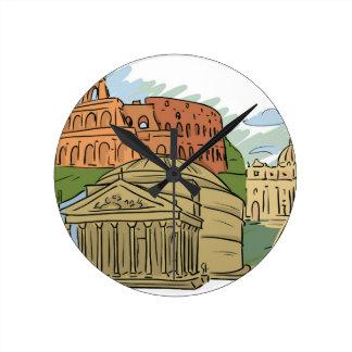 Es wurde errichtet nicht in einem Tag (Rom) Runde Wanduhr