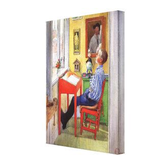Esbjorn, das seine Hausaufgaben durch Karl Larsson Leinwand Drucke