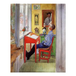 Esbjorn, das seine Hausaufgaben durch Karl Larsson Perfektes Poster