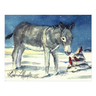 Esel für Weihnachtspostkarte Postkarte
