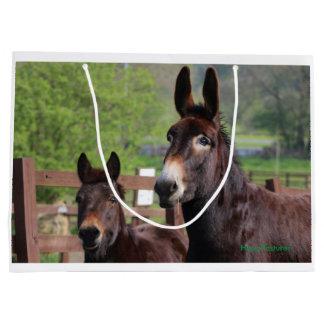 Esel, Pferd und ein exklusives Geschenk des Große Geschenktüte