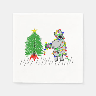 Esel- und Weihnachtsbaum Serviette