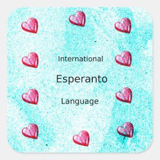 Esperanto-internationaler Sprachentwurf Quadratischer Aufkleber